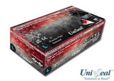 Uniseal® Optimus Extreme Blk/Red Specialty Colored Nitrile Exam Gloves, Nitrile Gloves, - Applegate Soils & Hydroponics
