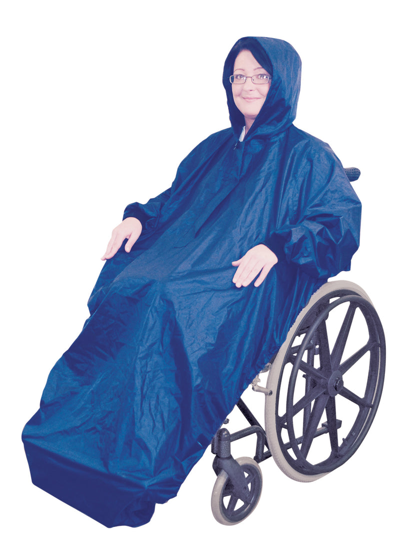 Fleece Lined Wheelchair Mac with Sleeves Blue