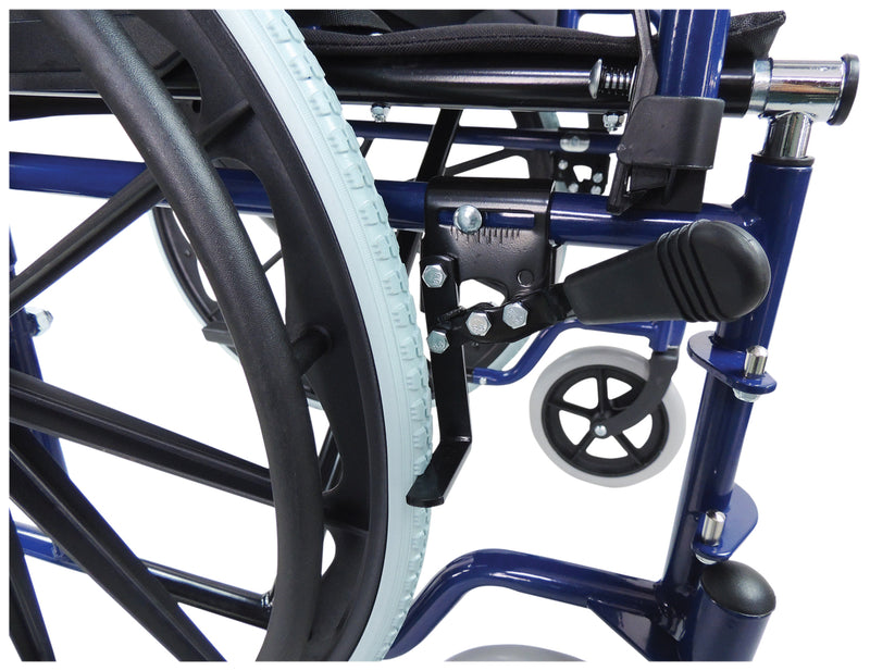 Self Propelled Steel Blue Transit Chair