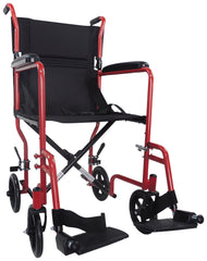 Steel Compact Transport Red Wheelchair