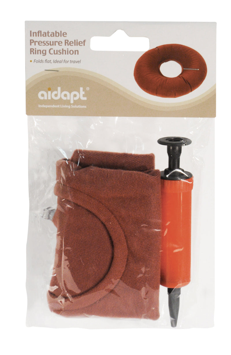 Inflatable Pressure Relief Ring Cushion Maroon