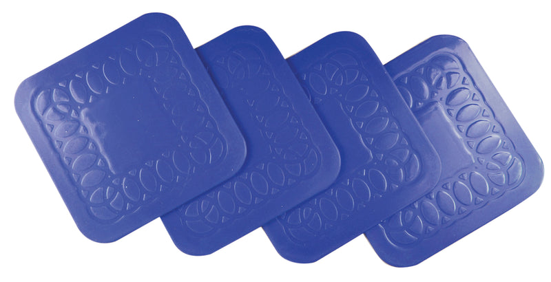 Tenura Anti Slip Silicone Rubber Blue Square Coaster (Pack of 4)