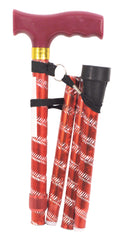 Extendable Plastic Handled Walking Stick with Engraved Pattern Red