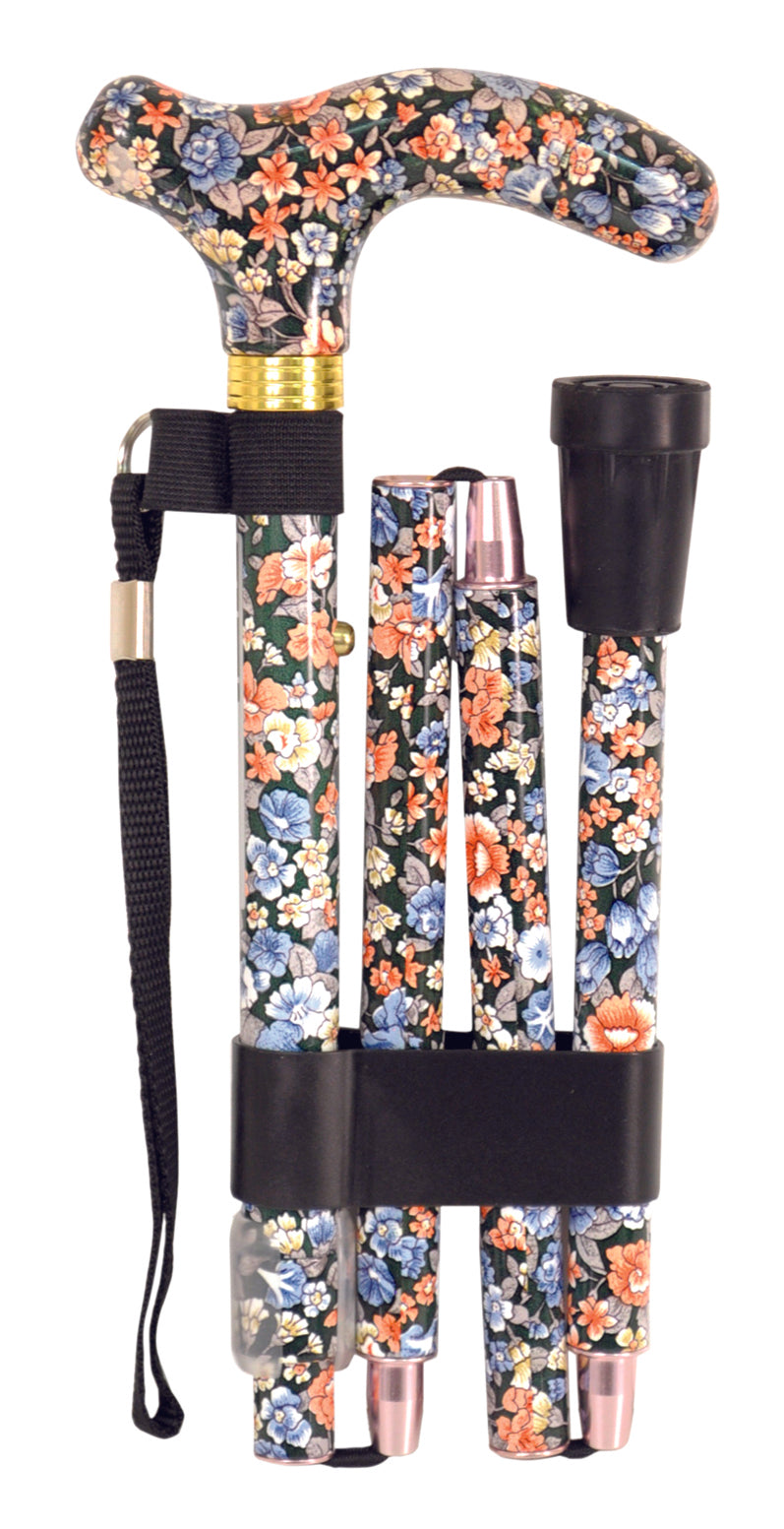 Deluxe Folding Walking Cane Japanese Floral