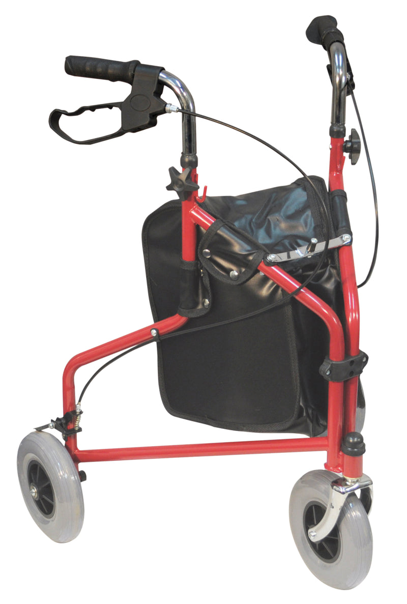 Three Wheeled Steel Walker Red (With Bag)