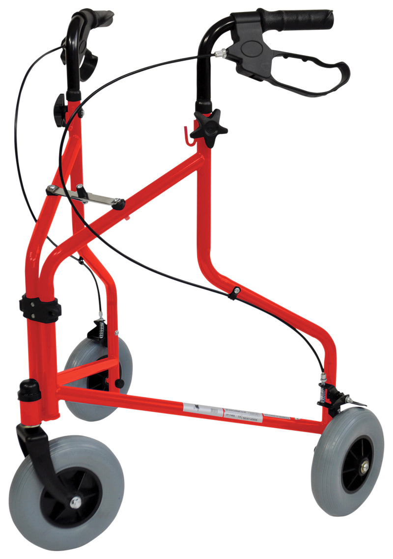 Three Wheeled Steel Walker Red (Without Bag)
