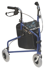 Three Wheeled Steel Walker -Blue with Bag