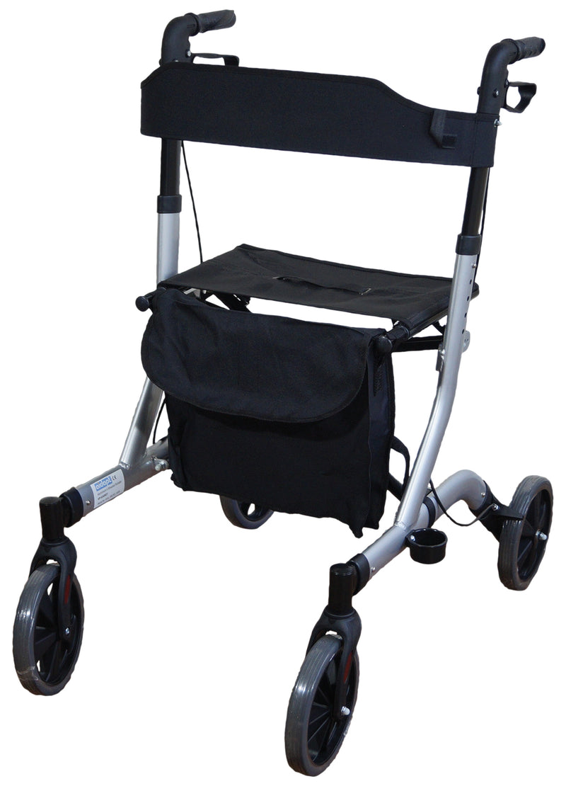 Deluxe Ultra Lightweight Folding 4 Wheeled Grey Rollator