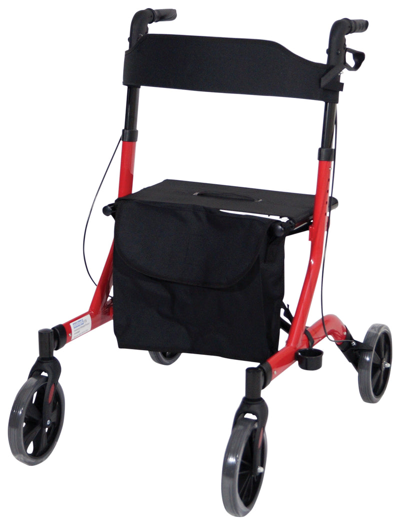 Deluxe Ultra Lightweight Folding 4 Wheeled Red Rollator