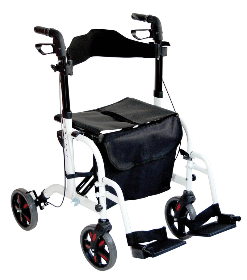 Duo Deluxe White Rollator and Transit Chair in One