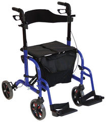 Duo Deluxe Blue Rollator and Transit Chair in One