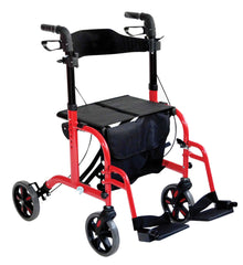 Duo Deluxe Red Rollator and Transit Chair in One