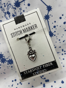 Stitch Marker - Heart with Flower