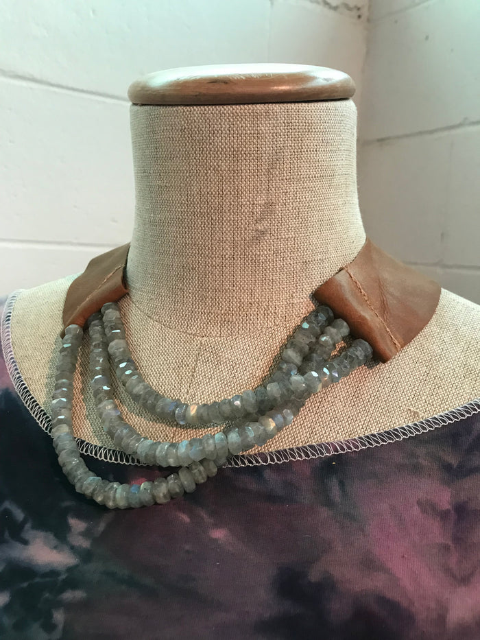 Faceted Labradorite Rondelle and Leather Waterfall Necklace
