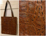 Long Leather Magazine Tote