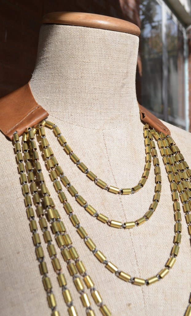 Hesperus Brass Cascade and Leather Necklace