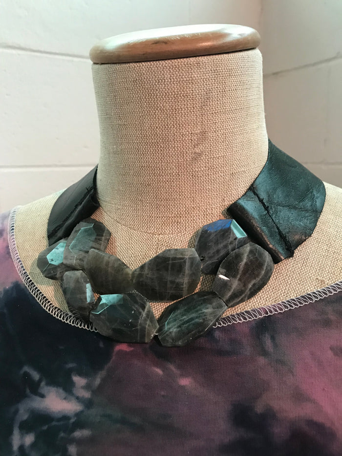 Grey Faceted Labradorite Slab and Leather Necklace