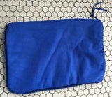 Franke Cobalt Blue Shearling and Leather Clutch