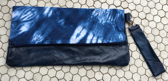 Ferris Indigo Dyed Linen and Pullup Leather Clutch