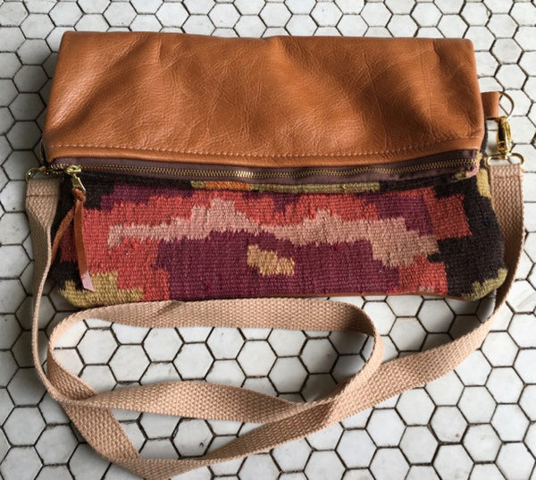 Ankara Kilim and Leather Crossbody Bag