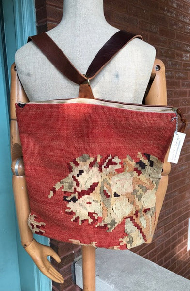 Camino Kilim and Leather Convertible Backpack