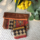 Elio Lg Kilim and Leather Clutch