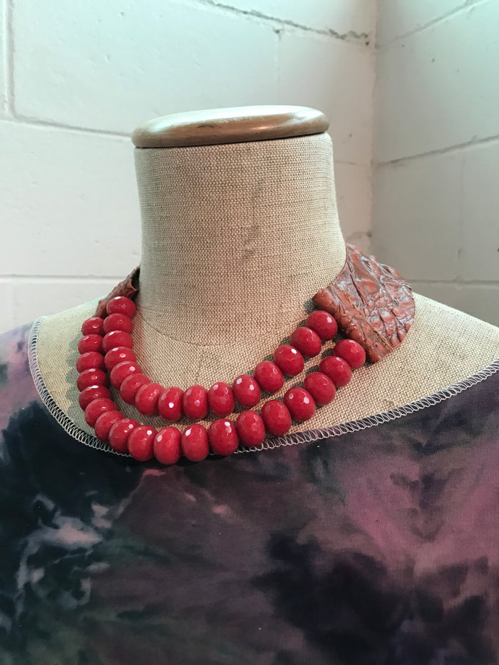 Faceted Fuchsia Jade and Leather Necklace