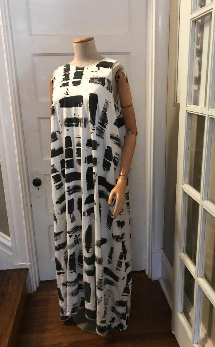 Sleeveless Maxi Dress- WITH POCKETS- ARCO Handpainted Collection