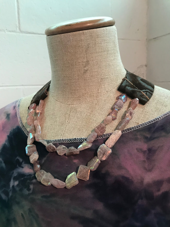 Rare Natural Strawberry Pink Mystic Quartz and Leather Necklace
