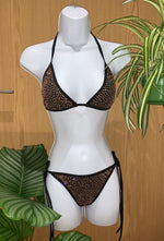 Classic Blingkini in Black ( Rose Gold Stones )