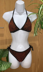 Classic Blingkini in Black ( Tomato Red stones )