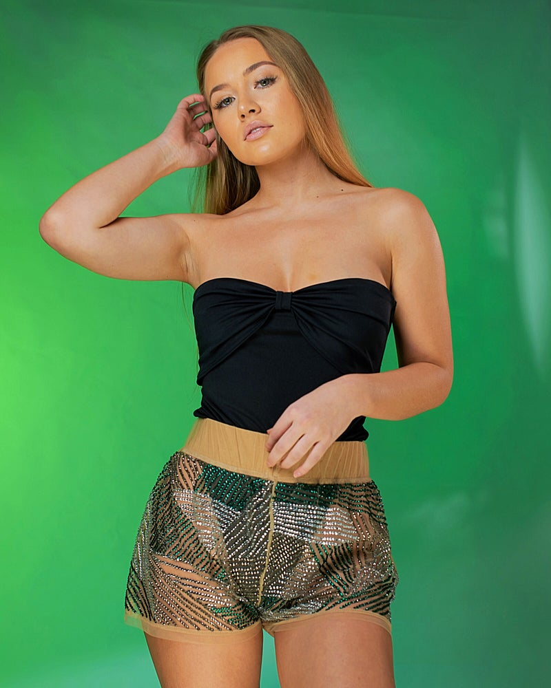 Daisy Shorts in silver/green