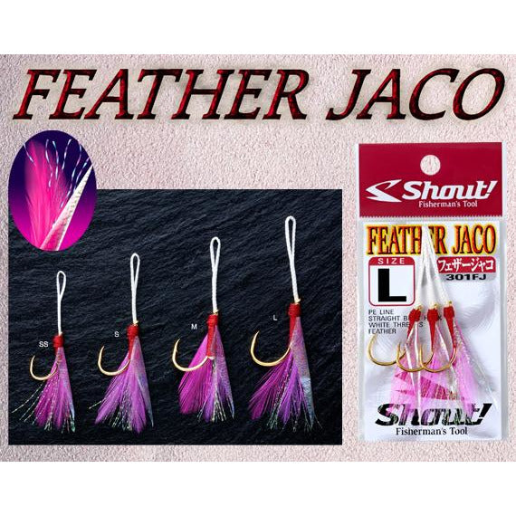 Shout Feather Jaco Assist Hooks - REDTACKLE
