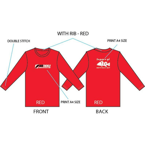 Singapore Peacock Bass Long Sleeves ( Red ) - REDTACKLE