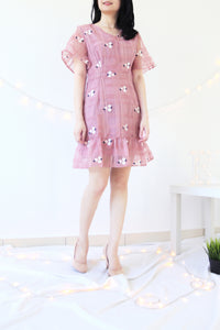 FLORAL EMBROIDERED ORGANZA DRESS