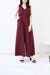 V-NECK FRONT BUTTONS SLEEVELESS JUMPSUIT