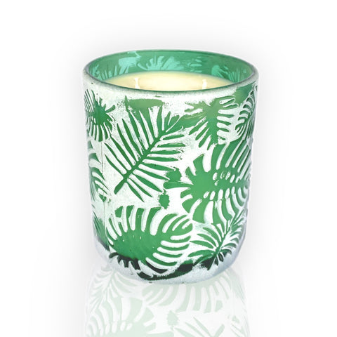 Palm Leaf Candle - Dark Green