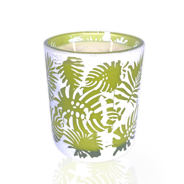 Palm Leaf Candle - Light Green