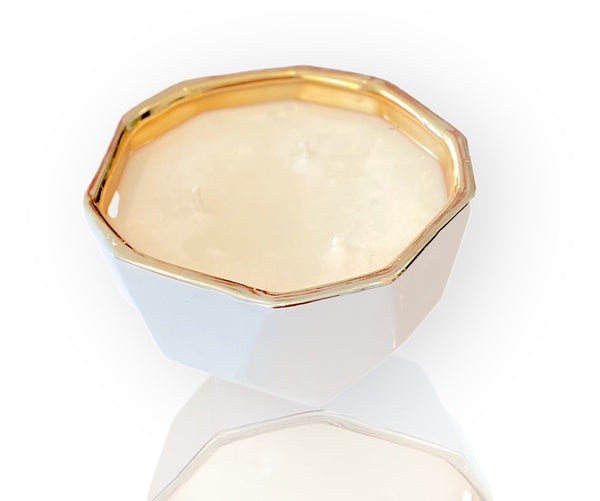 White and Gold Candle Bowl
