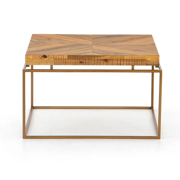 CINDY COFFEE TABLE WITH DULL GOLD METAL BASE AND SOLID WOOD TOP
