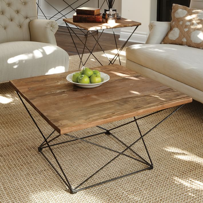 MATHEW EDITION COFFEE TABLE WITH RUSTIC SOLID WOOD TOP