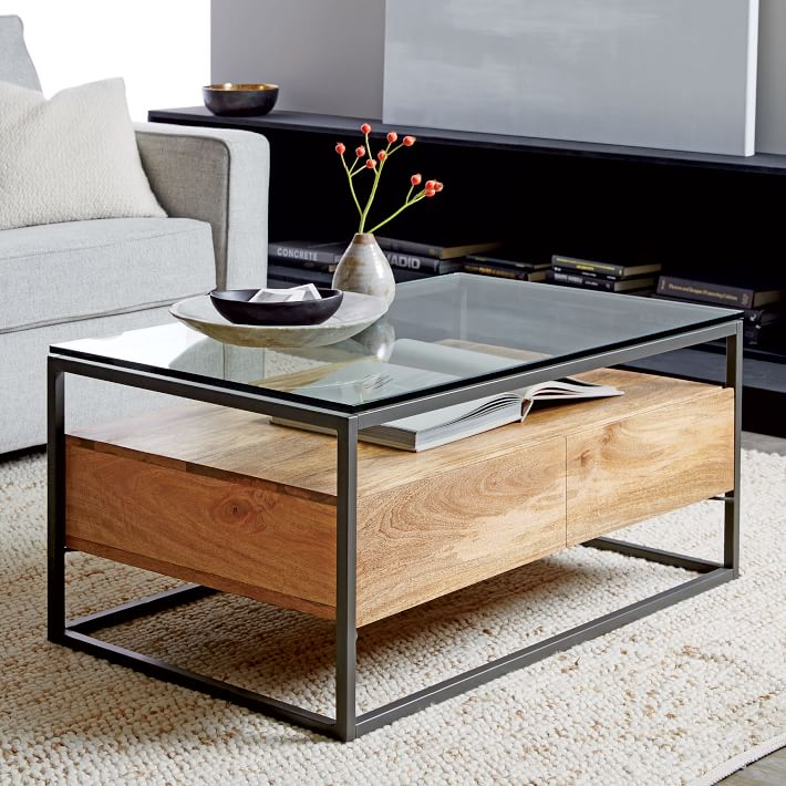 HEXA METAL WOOD AND GLASS COFFEE TABLE