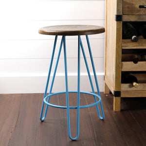 Newyork Bar Stool In Pastel Blue And Wallnut Finish Top