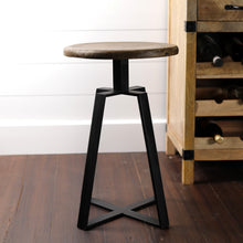 Load image into Gallery viewer, Iron Smith Bar Stool In Wallnut Finish Top(Large)