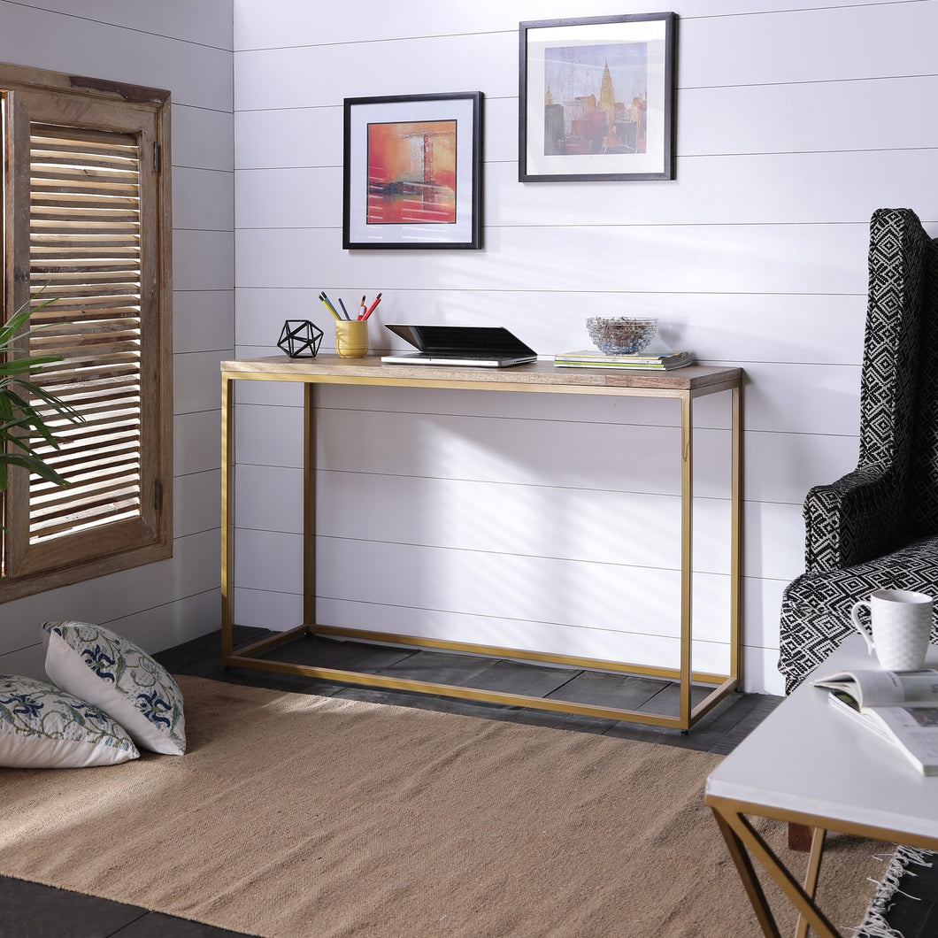 Herringbone Series Console Table In Golden Base