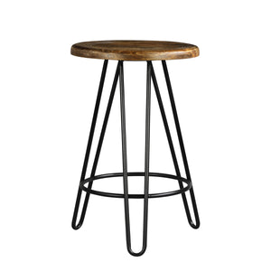 Newyork Bar Stool In Black Metal And Wallnut Finish Top
