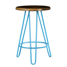 Load image into Gallery viewer, Newyork Bar Stool In Pastel Blue And Wallnut Finish Top