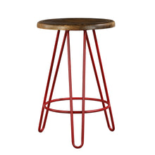 Load image into Gallery viewer, Newyork Bar Stool In Pastel Red And Walnut Finish Top