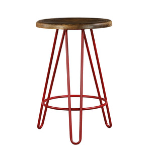 Newyork Bar Stool In Pastel Red And Walnut Finish Top
