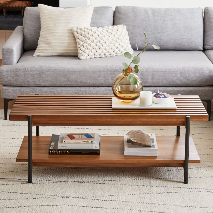 SLATED METAL AND SOLID WOOD COFFEE TABLE